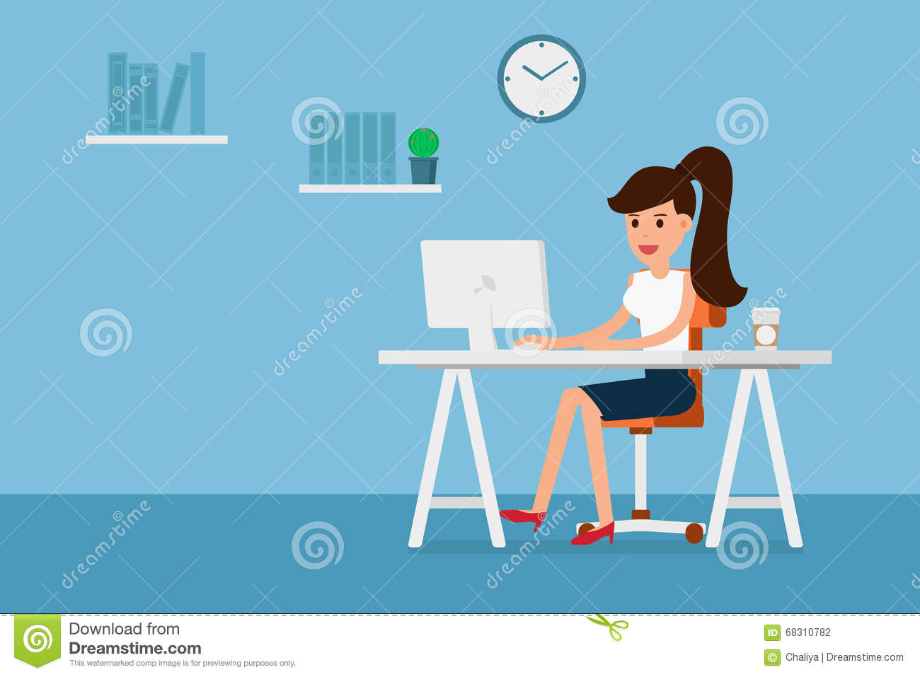 Business woman working on computer and coffee in paper cup, flat design style.