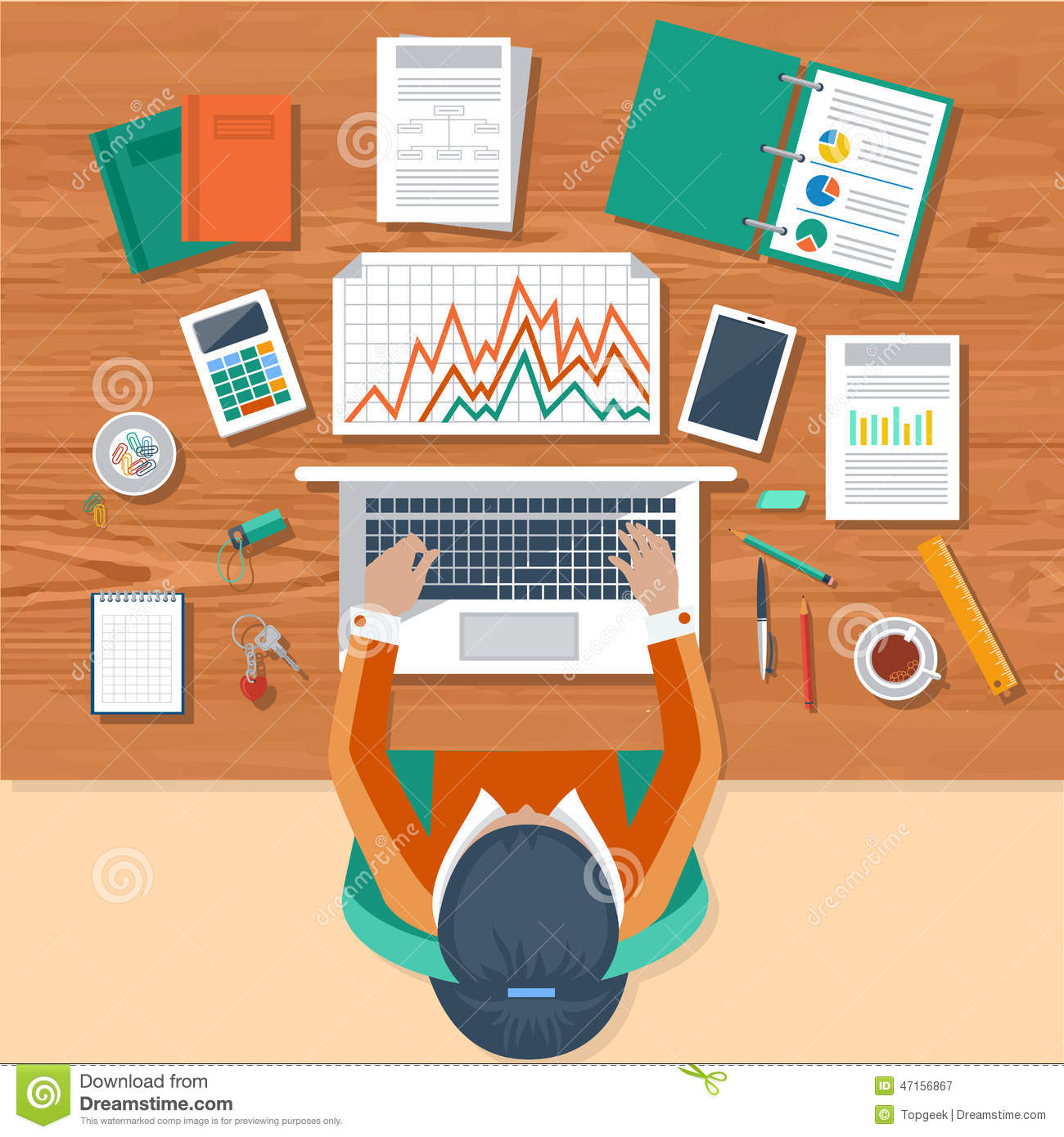 business woman working with laptop and documents stock