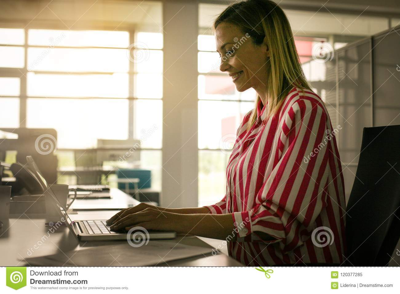 Business woman working in office. Woman typing on laptop.