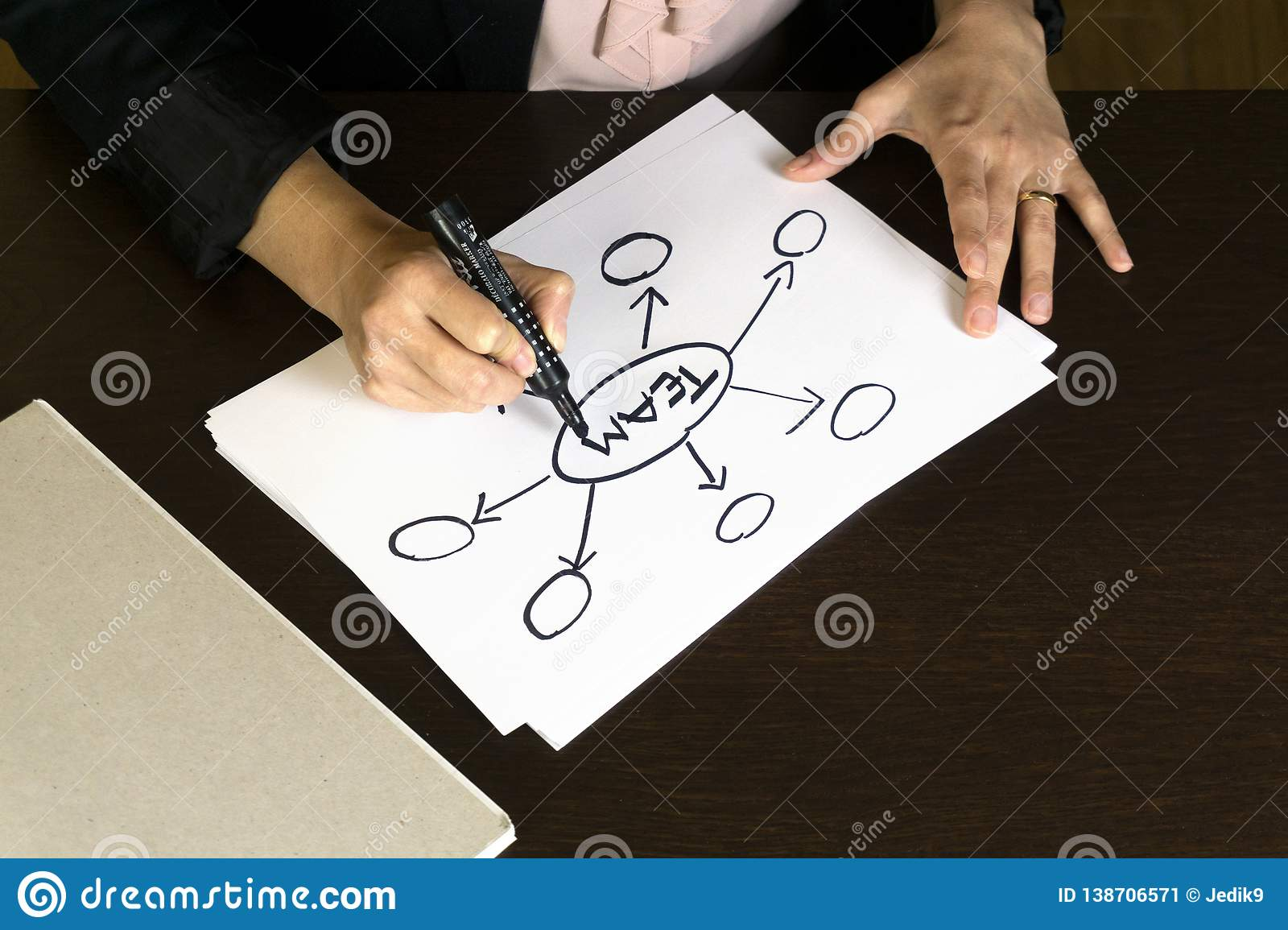 Business Woman Writing Action Plan Diagram Concept for team