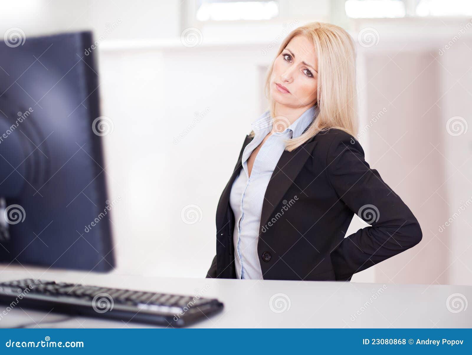 Business women having back pain royalty free stock photos image