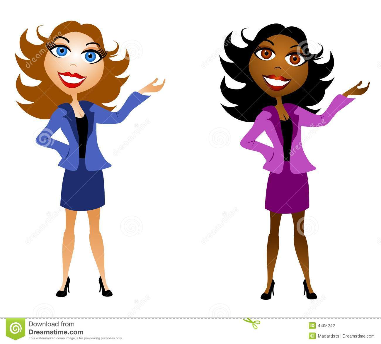 clip art illustration of caucasian and african american business ...