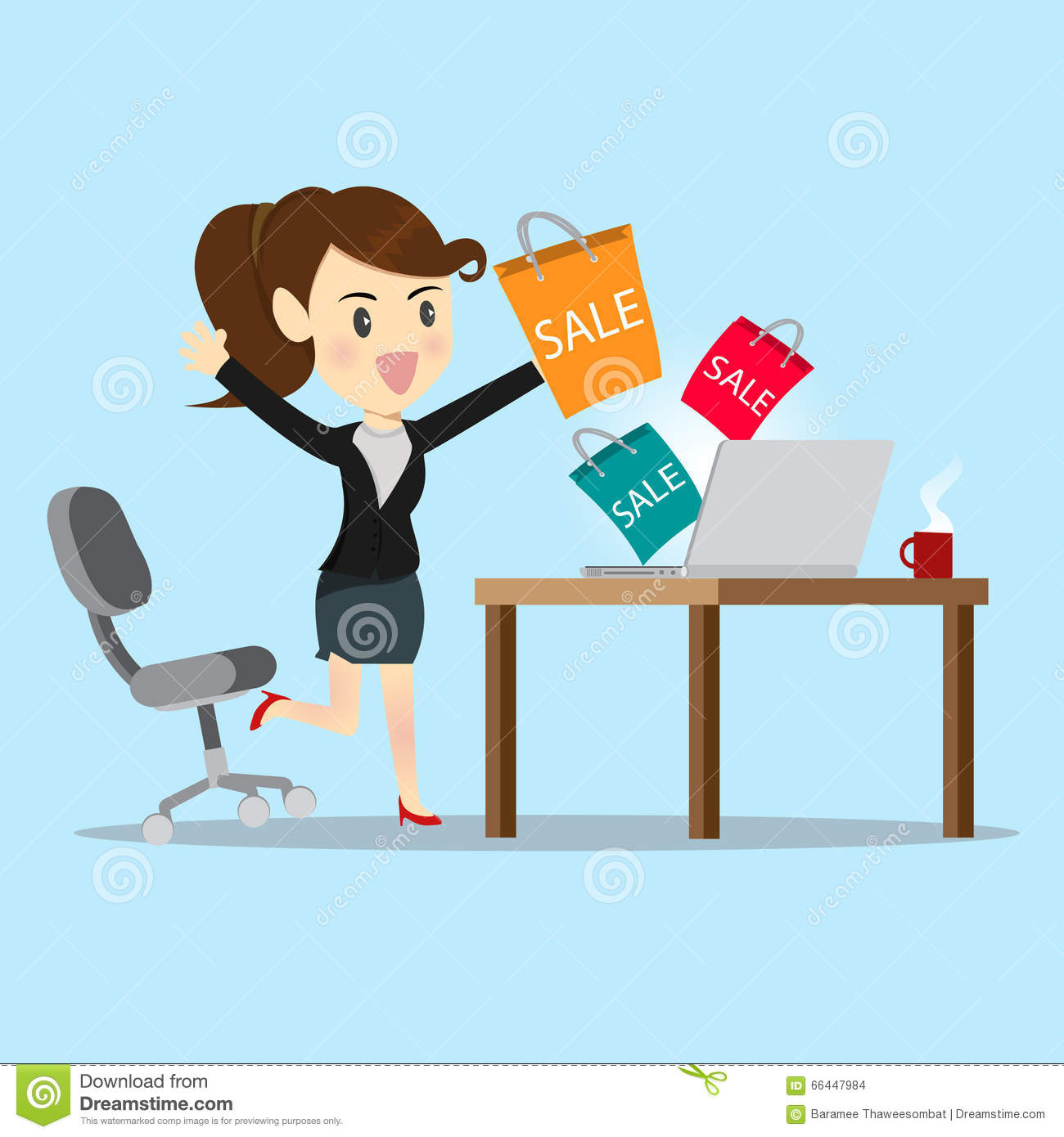 Business Women Shopping Online With Website. Stock Vector - Image ...
