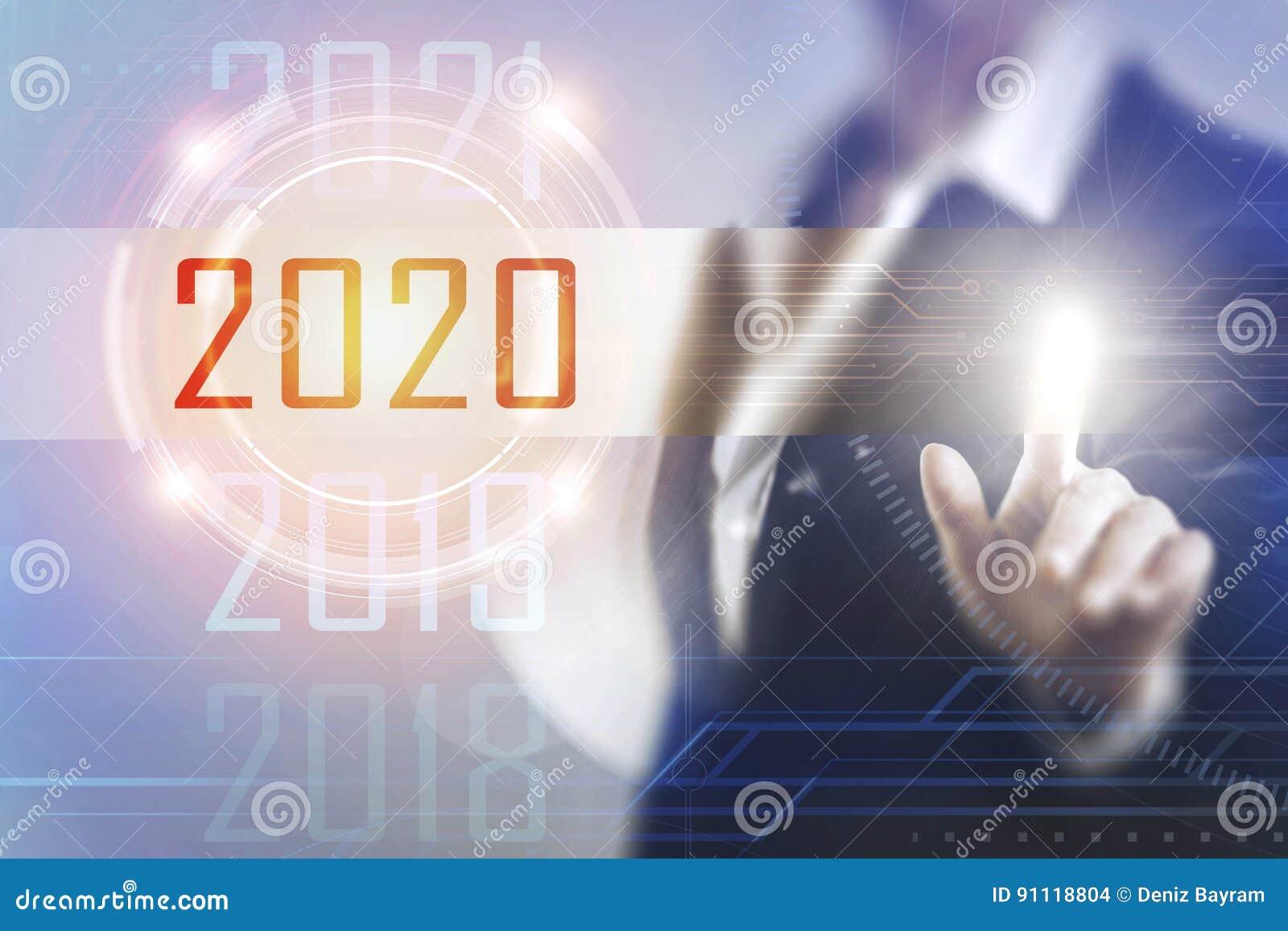 Business women touching the 2020 screen