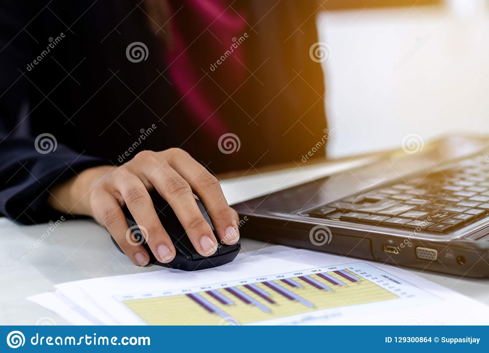 Business women using the laptop computer working.
