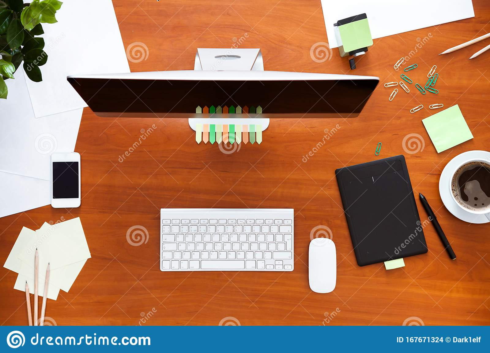 Business Work Desk With Computer And Supplies Modern Office