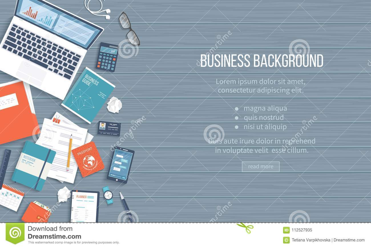 Business Workplace Desktop Background. Top View Of Table, Laptop ...