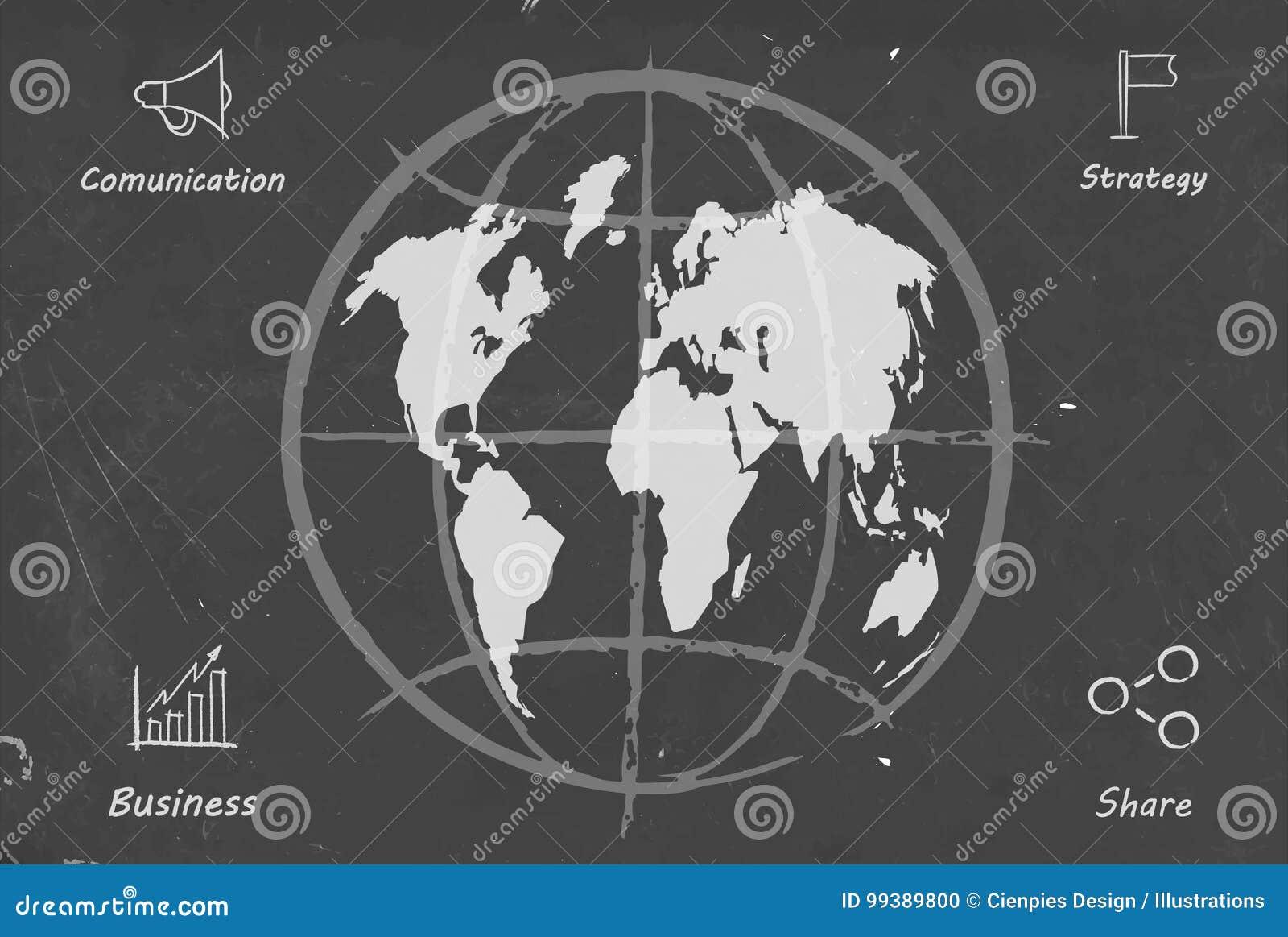 business world map blackboard sketch illustration stock vector