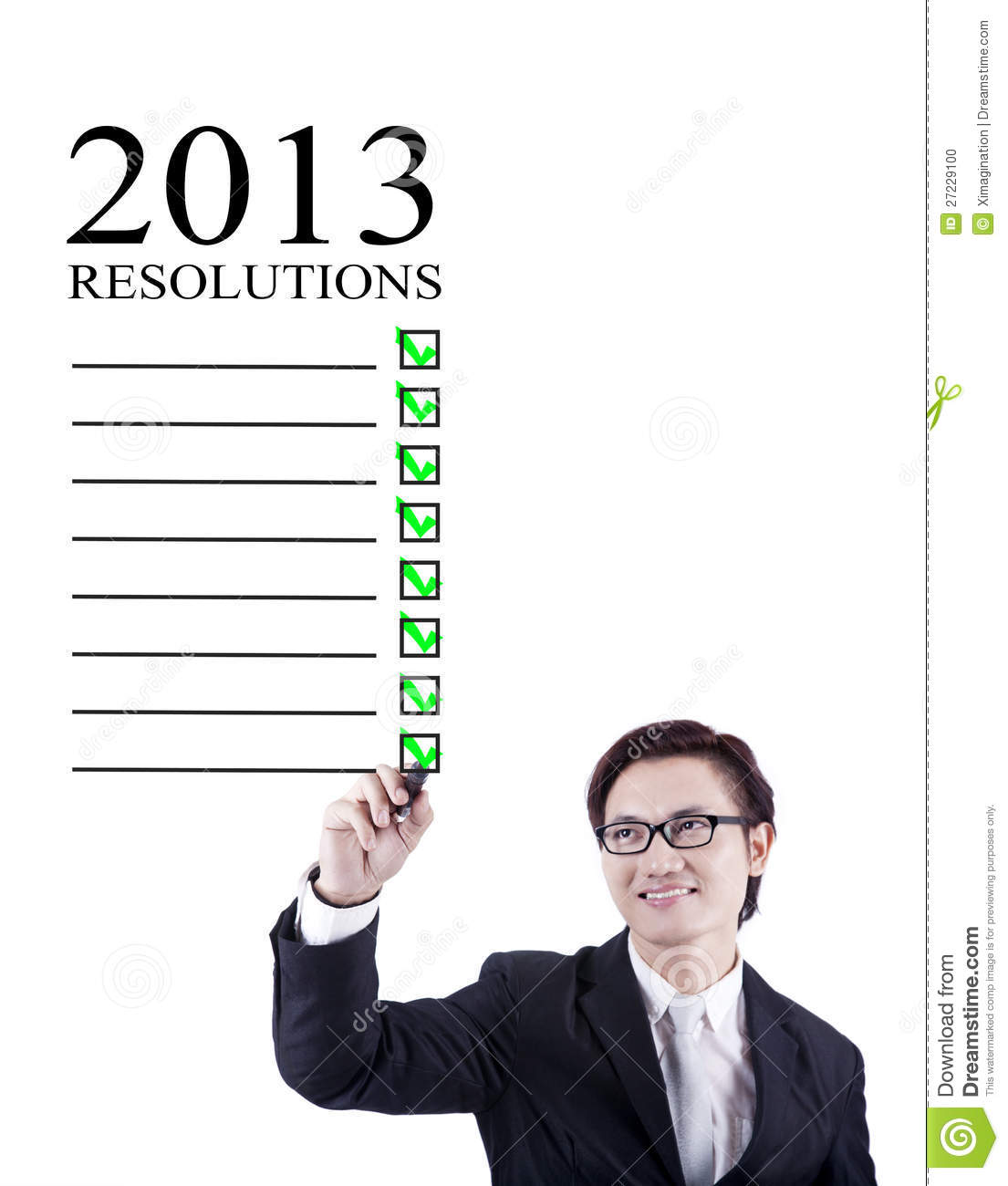 Businessman 2013 resolutions isolated in white