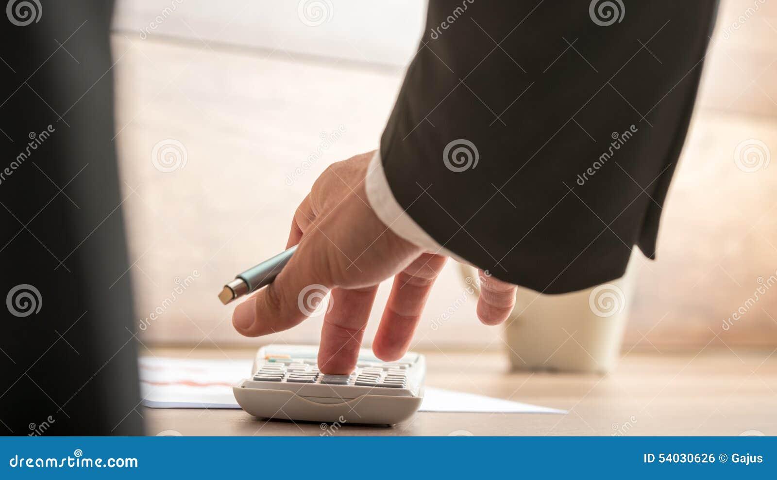 businessman or accountant doing important financial calculation rh dreamstime com Cartoon Accountant Desk Messy Accountant Desk
