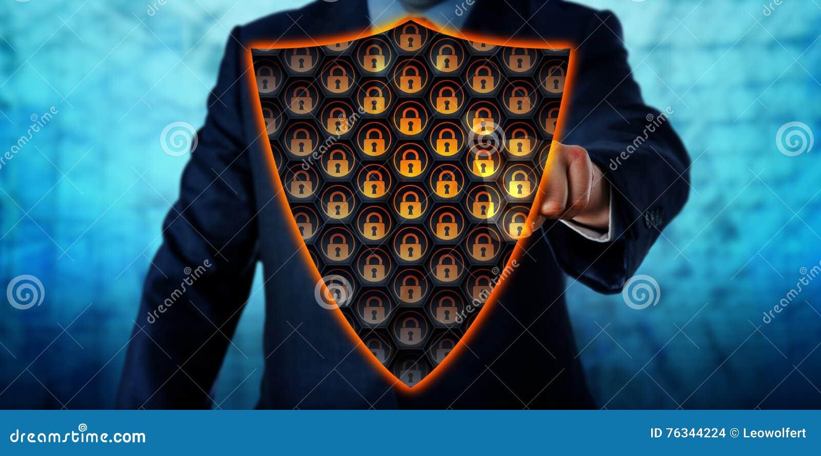 Businessman Activating Virtual Antivirus Shield