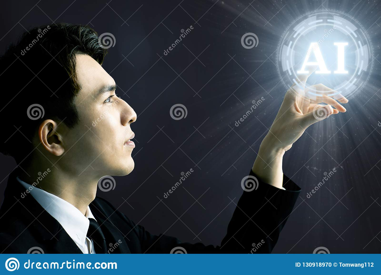 Businessman and AI Artificial Intelligence concept