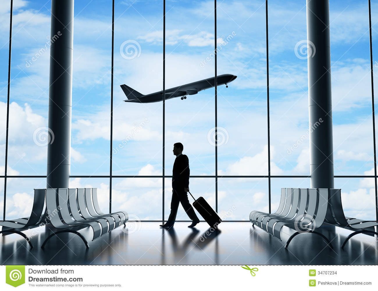 Businessman In Airport Stock Images - Image: 34707234
