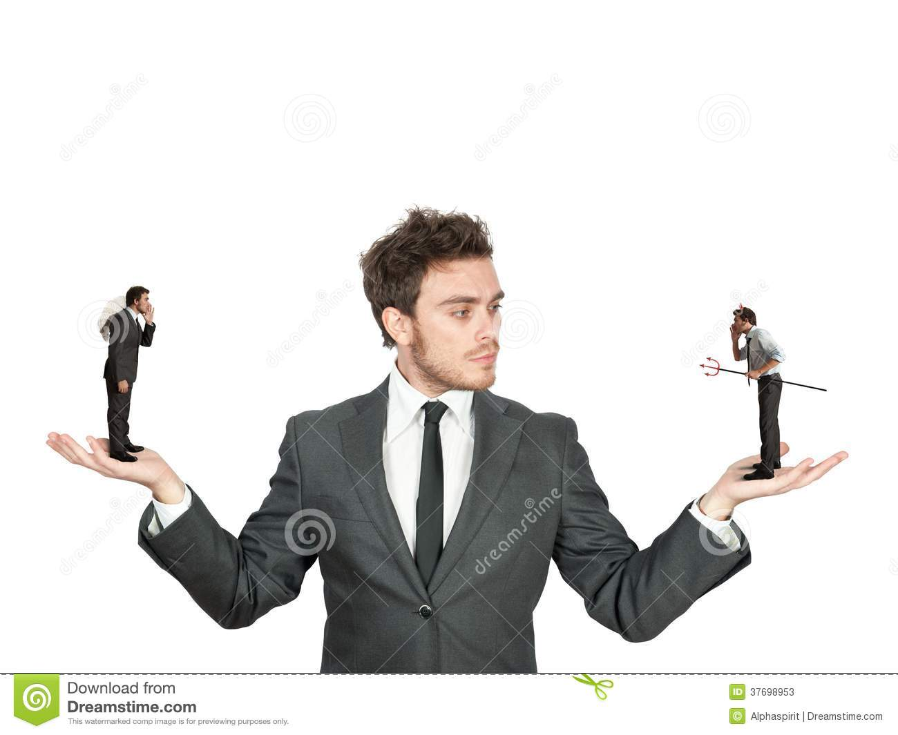 businessman and angel or devil stock photos   image 37698953