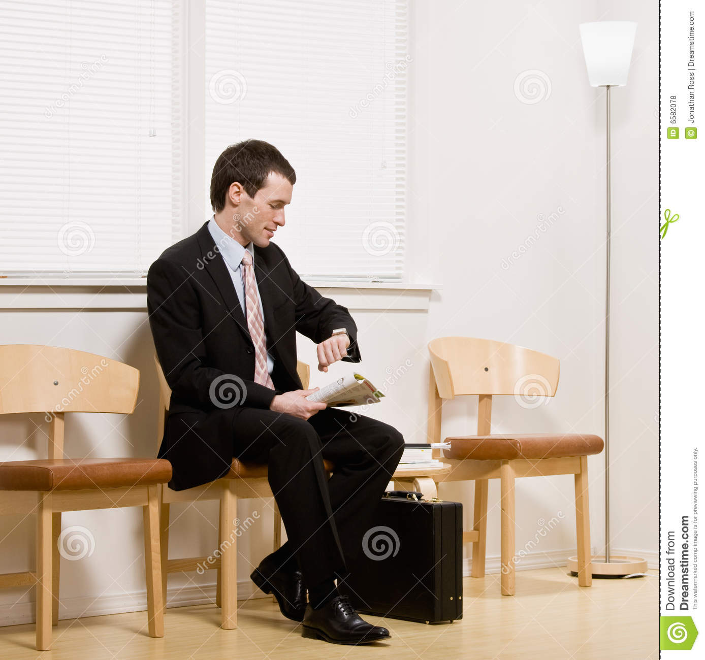 Businessman Anxiously Waiting For Appointment Royalty Free