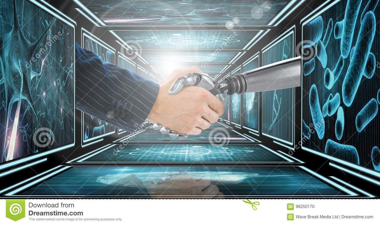 Businessman arm shaking hands with 3D robot arm in 3D corridor