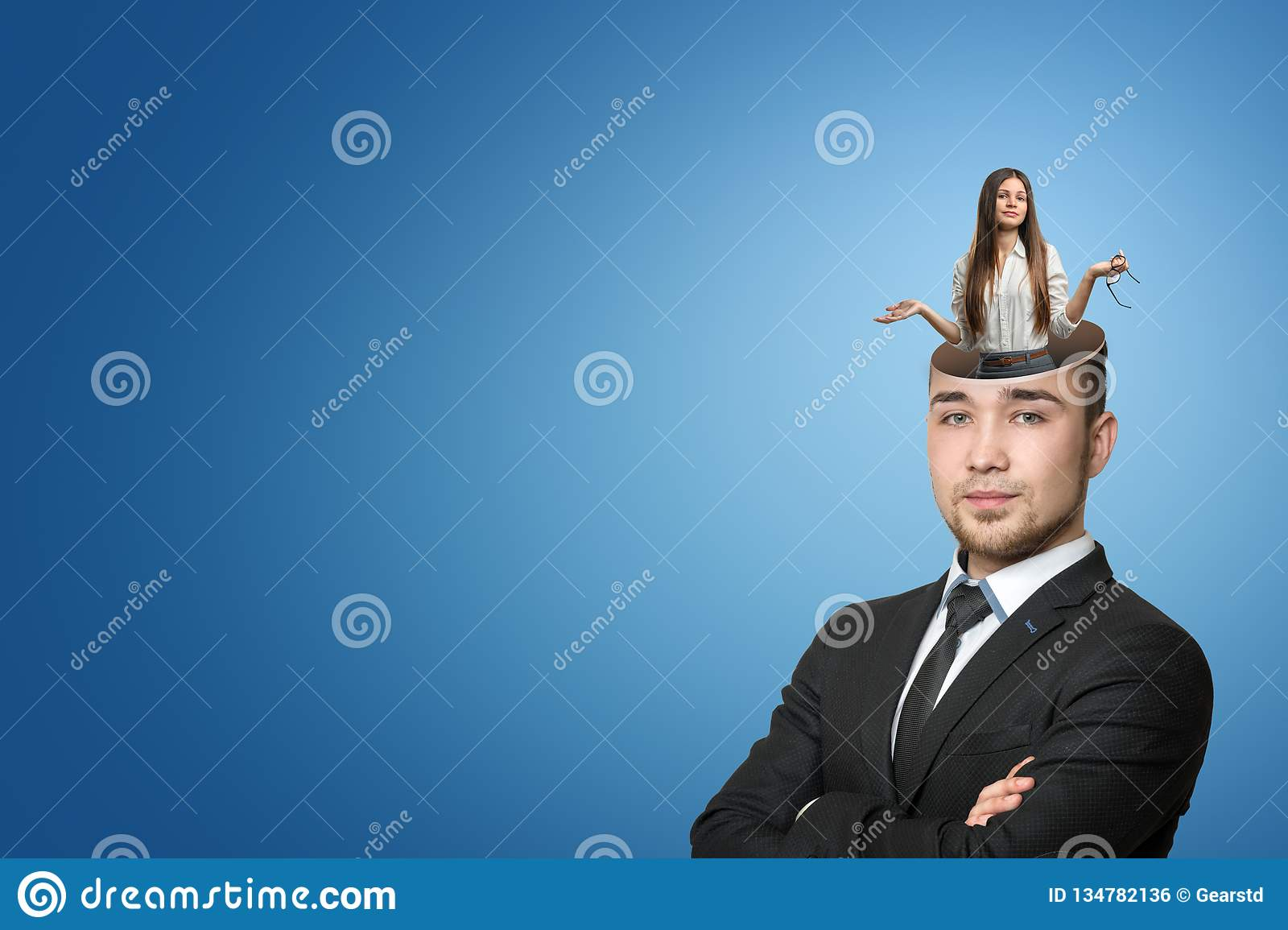 Businessman, arms folded, with upper part of head missing as if it had been cut away, with a businesswoman emerging out