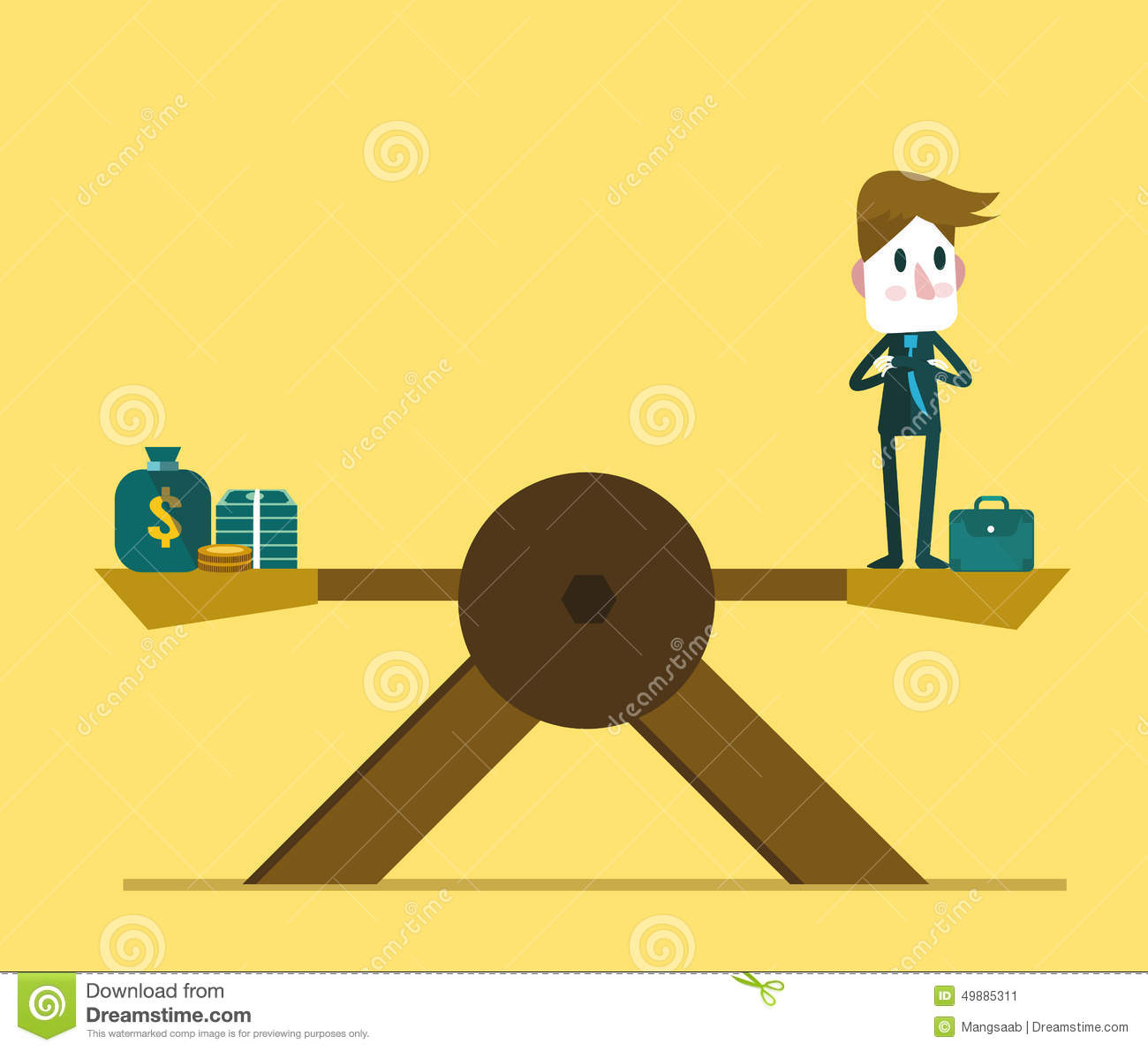 Vector Character Design Illustrator : Businessman balance on scale with money stock vector