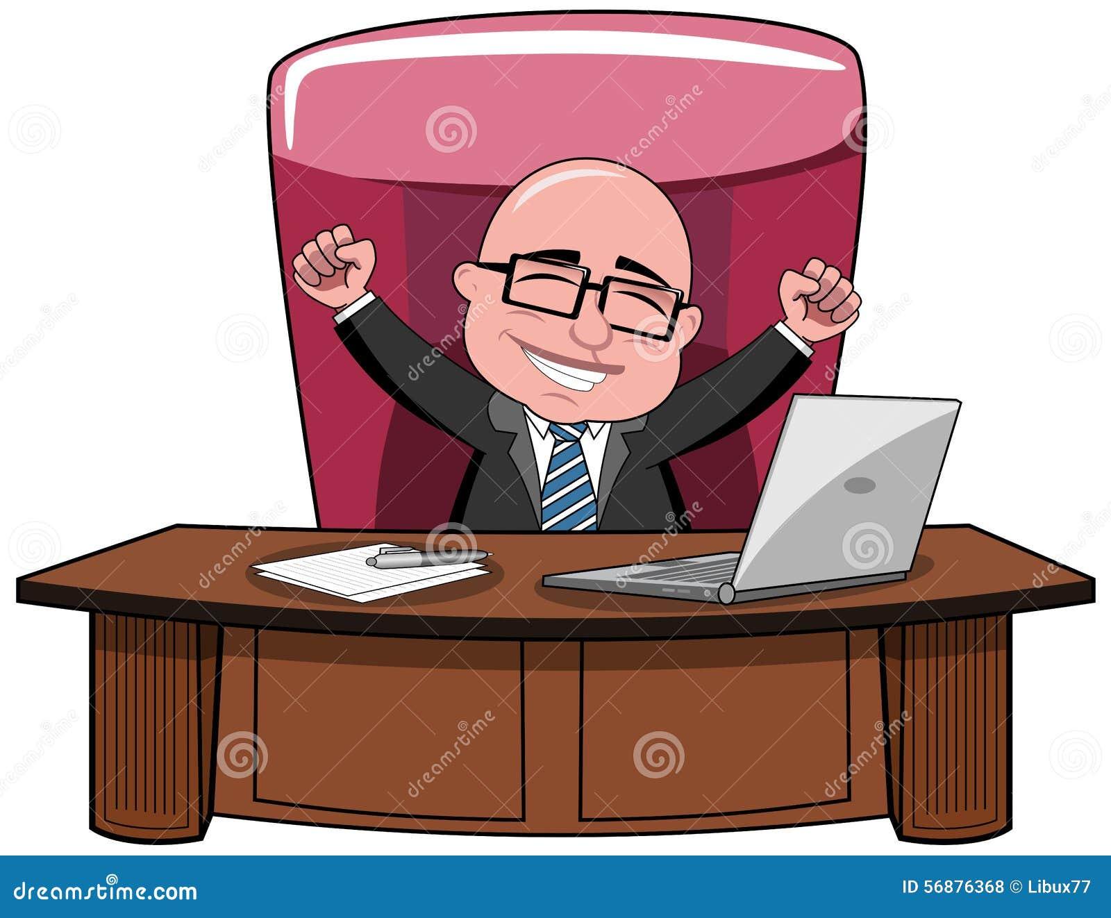 Businessman Bald Cartoon Success Boss Desk Stock Vector