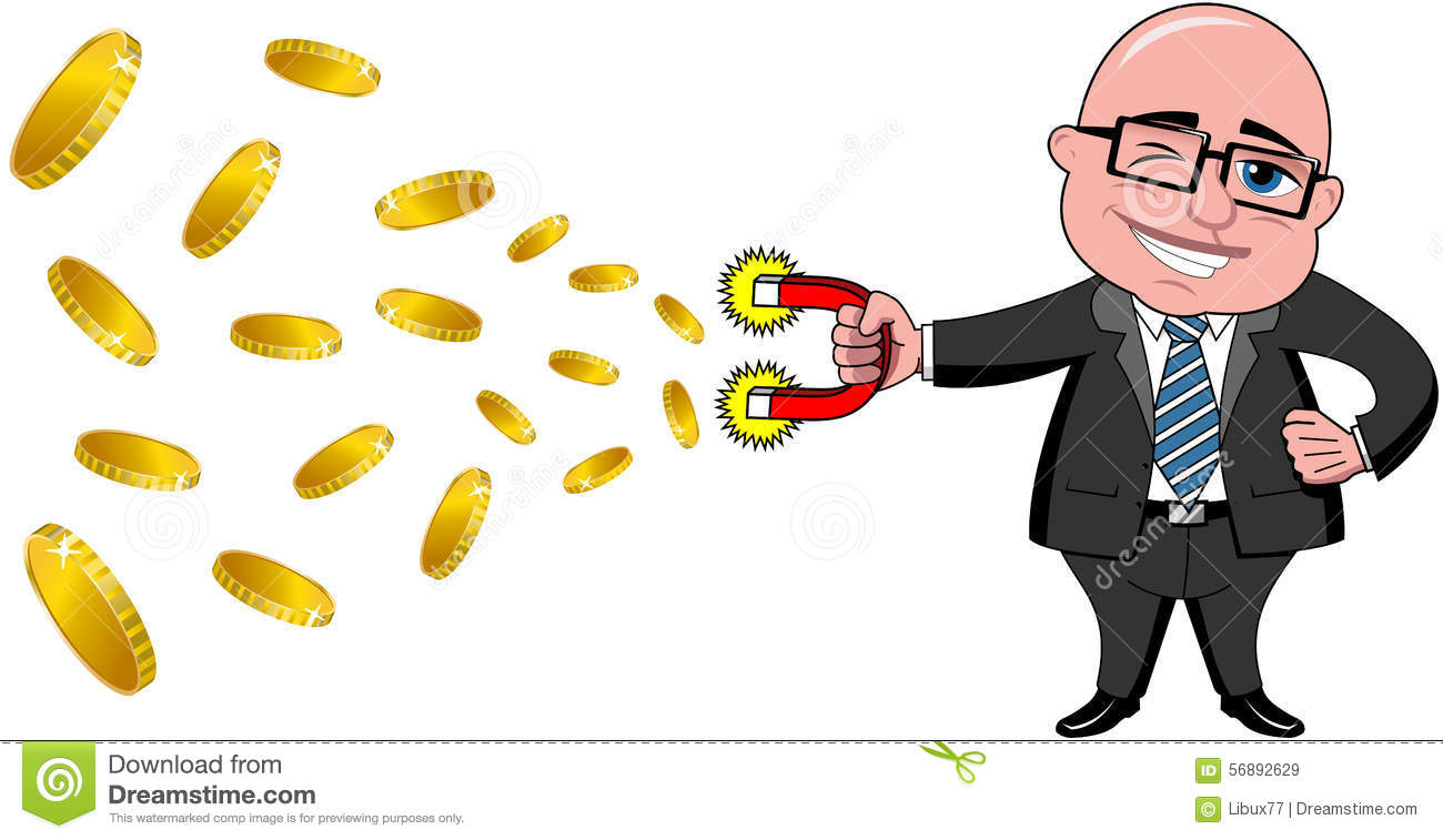Businessman Bald Magnet Money Isolated Stock Vector ...