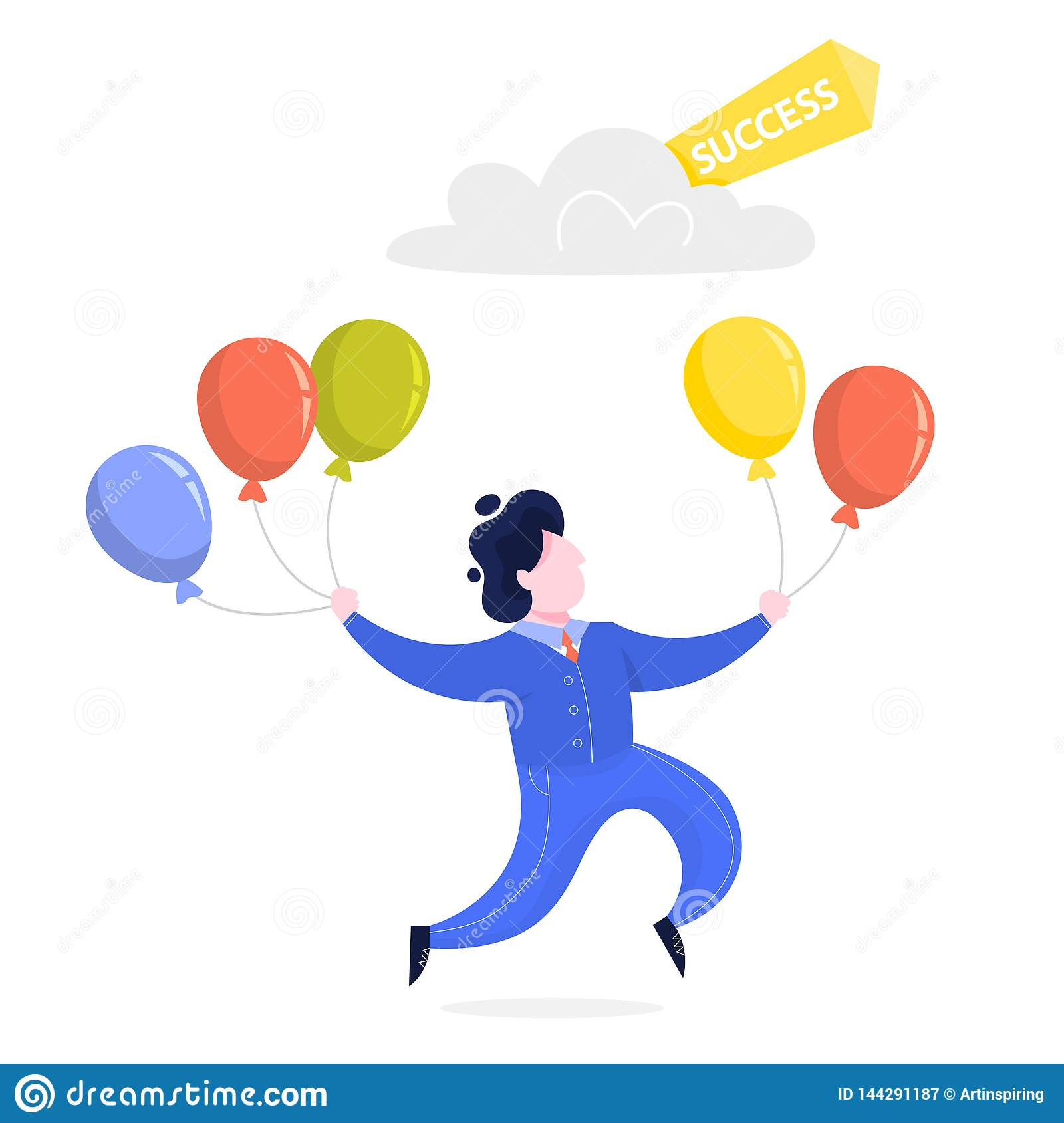 Businessman with balloon fly to the success. Idea of growth