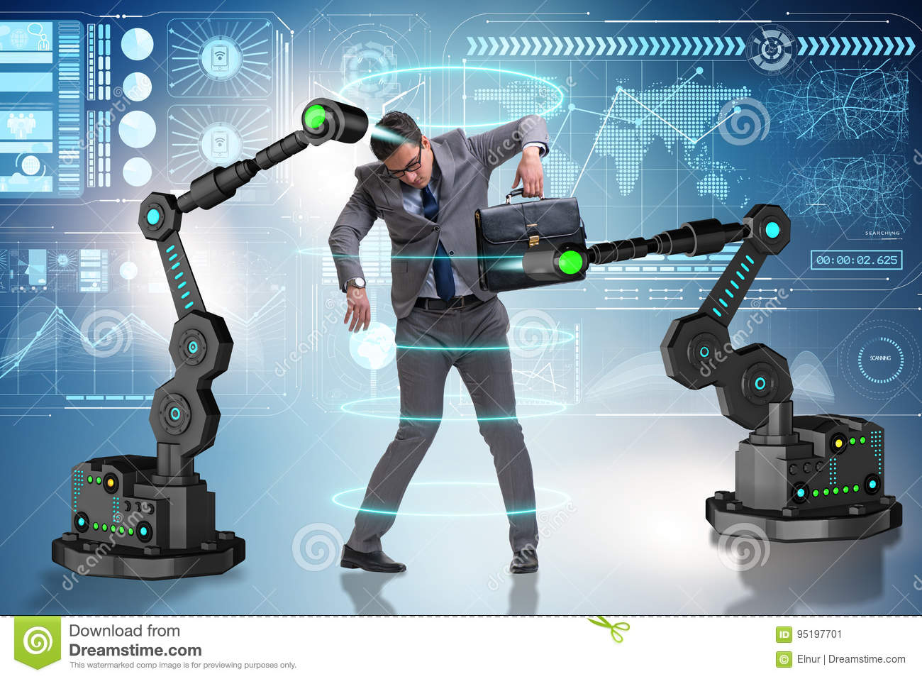 The businessman being manipulated by robotic arms