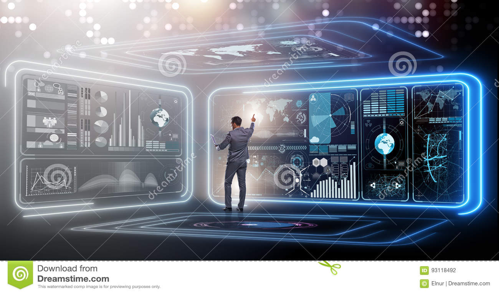 The businessman in big data management concept