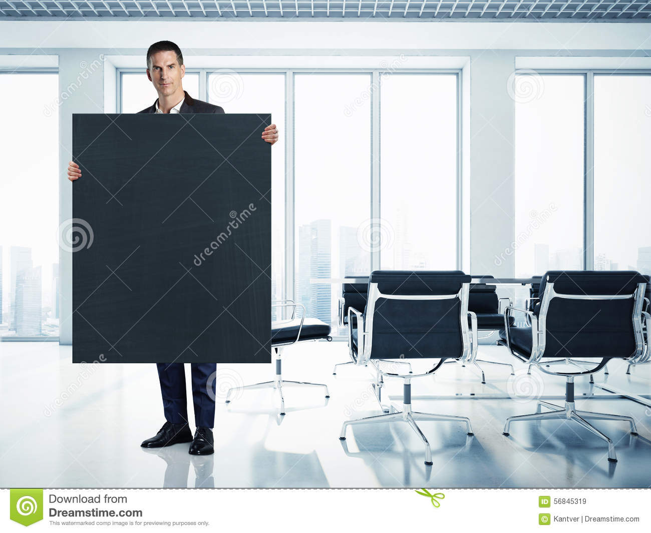 Businessman with black canvas