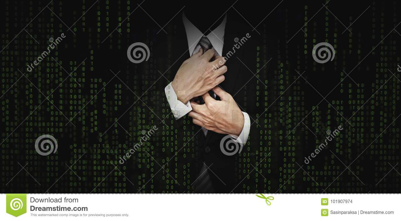 Businessman in black suit with abstract green computer code graphic background. business banking, internet safety security concept
