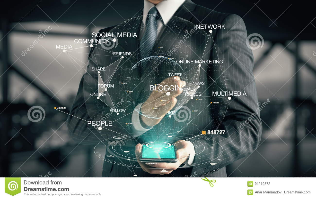 Businessman With Blogging Hologram Concept Stock Footage - Video of