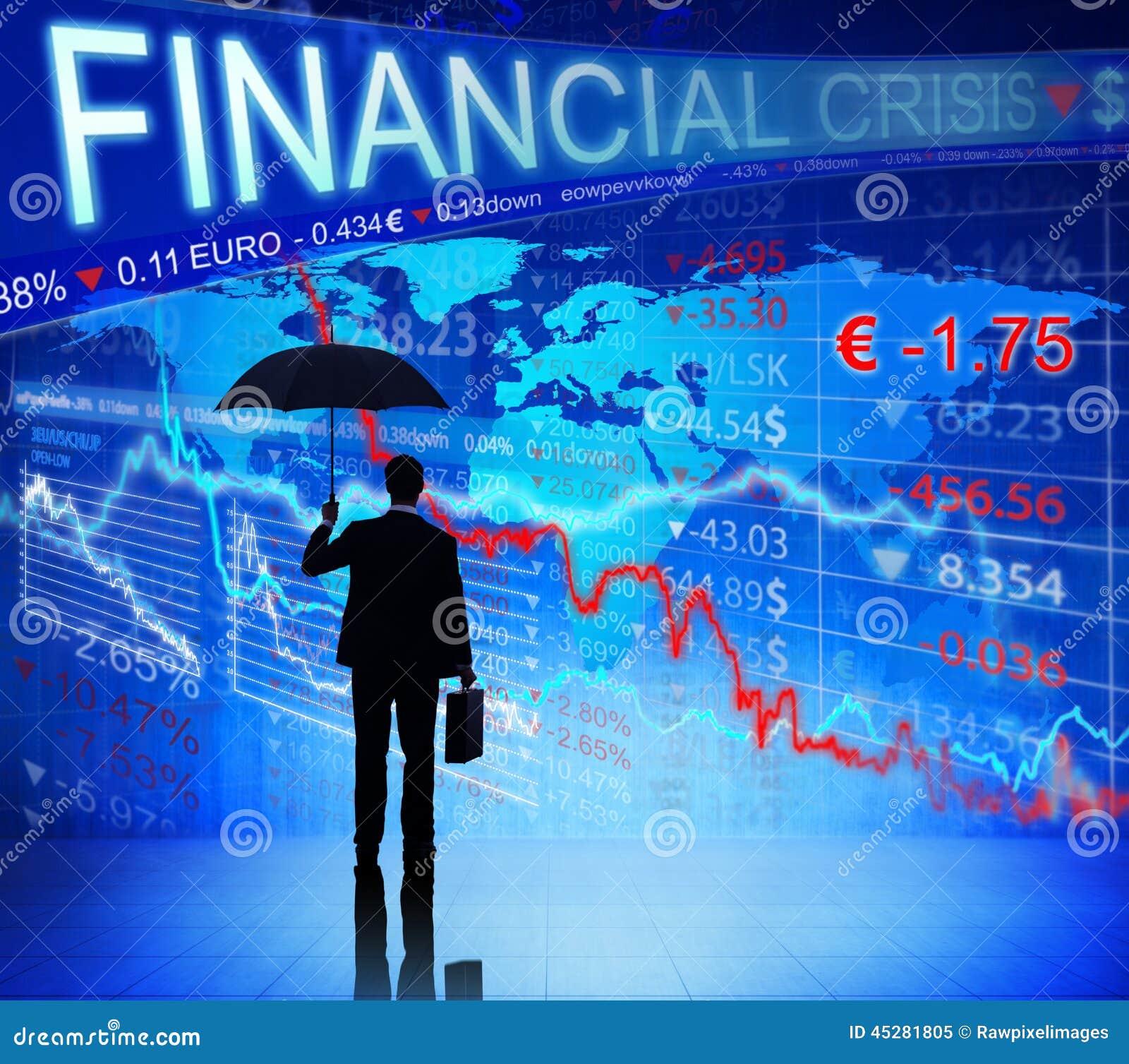 Businessman on Blue Financial Crisis Chart