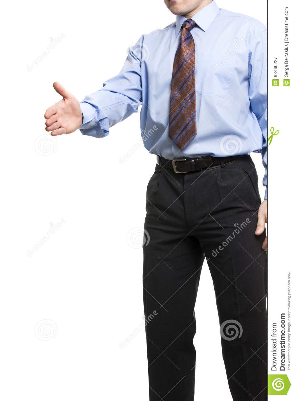 Businessman In Blue Shirt Holds Hand Welcome Gesture