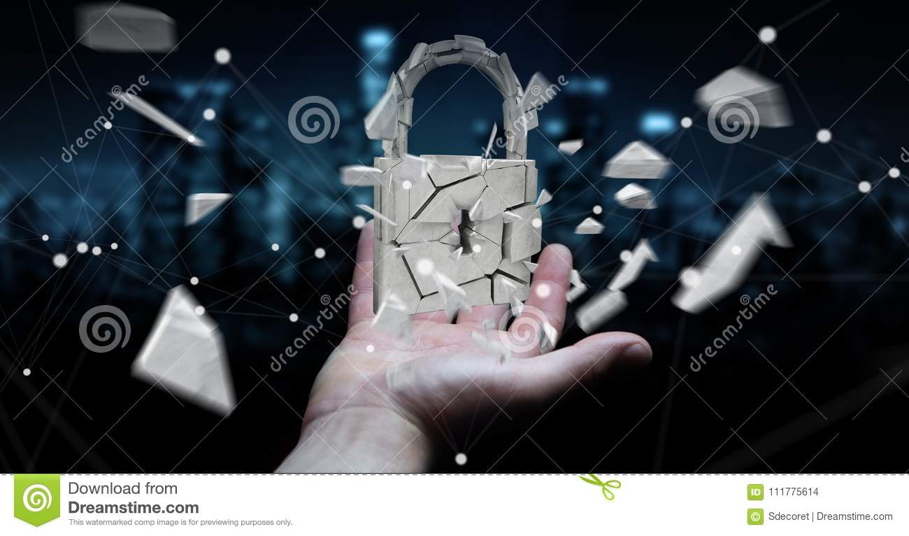 Businessman hacking in broken padlock security 3D rendering