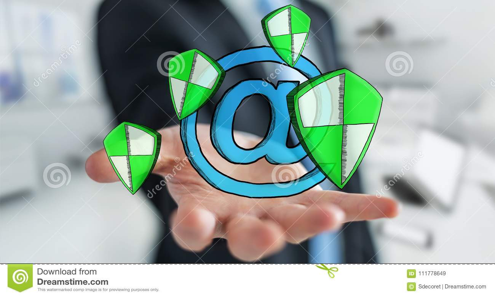 Businessman holding a hand-drawn antivirus system