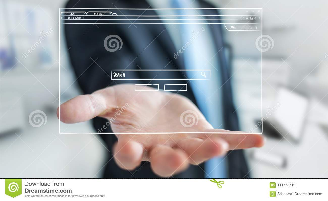 Businessman holding and touching a website page sketch