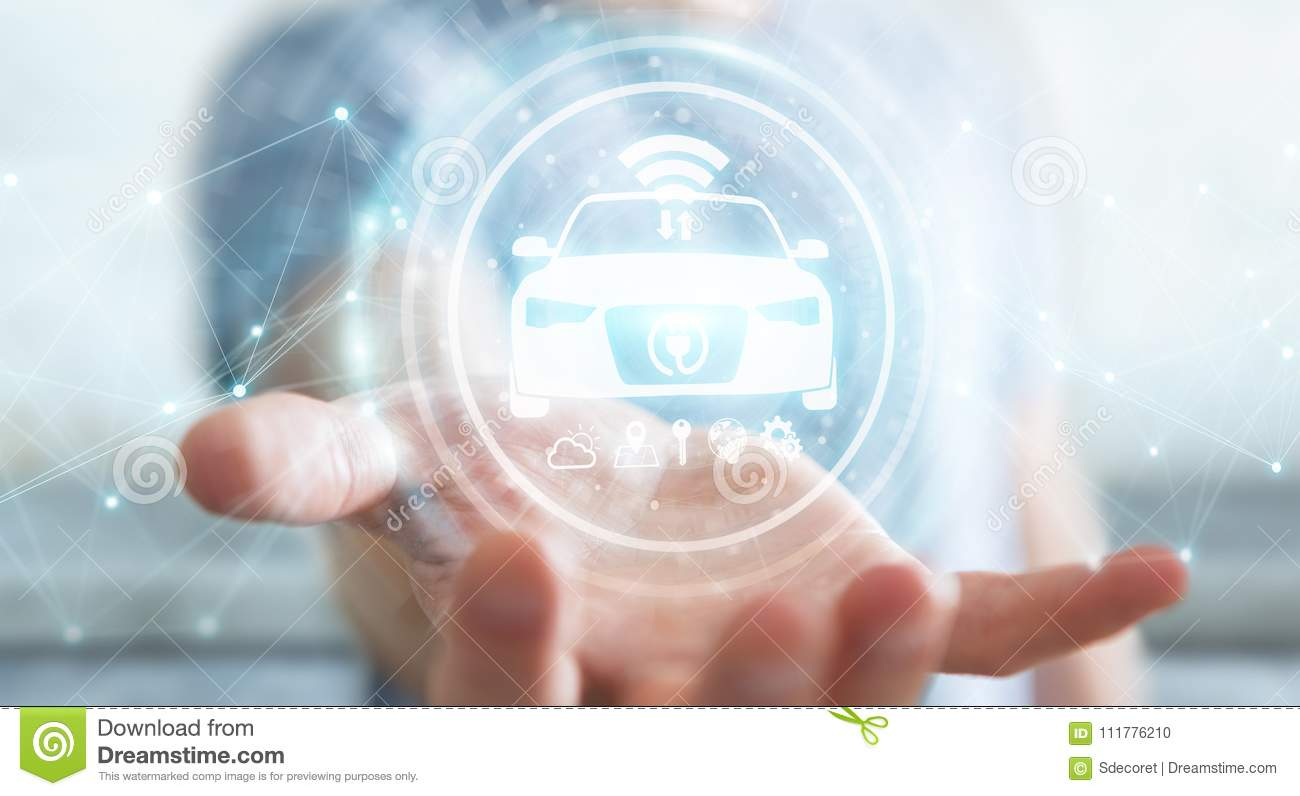 Businessman using modern smart car interface 3D rendering