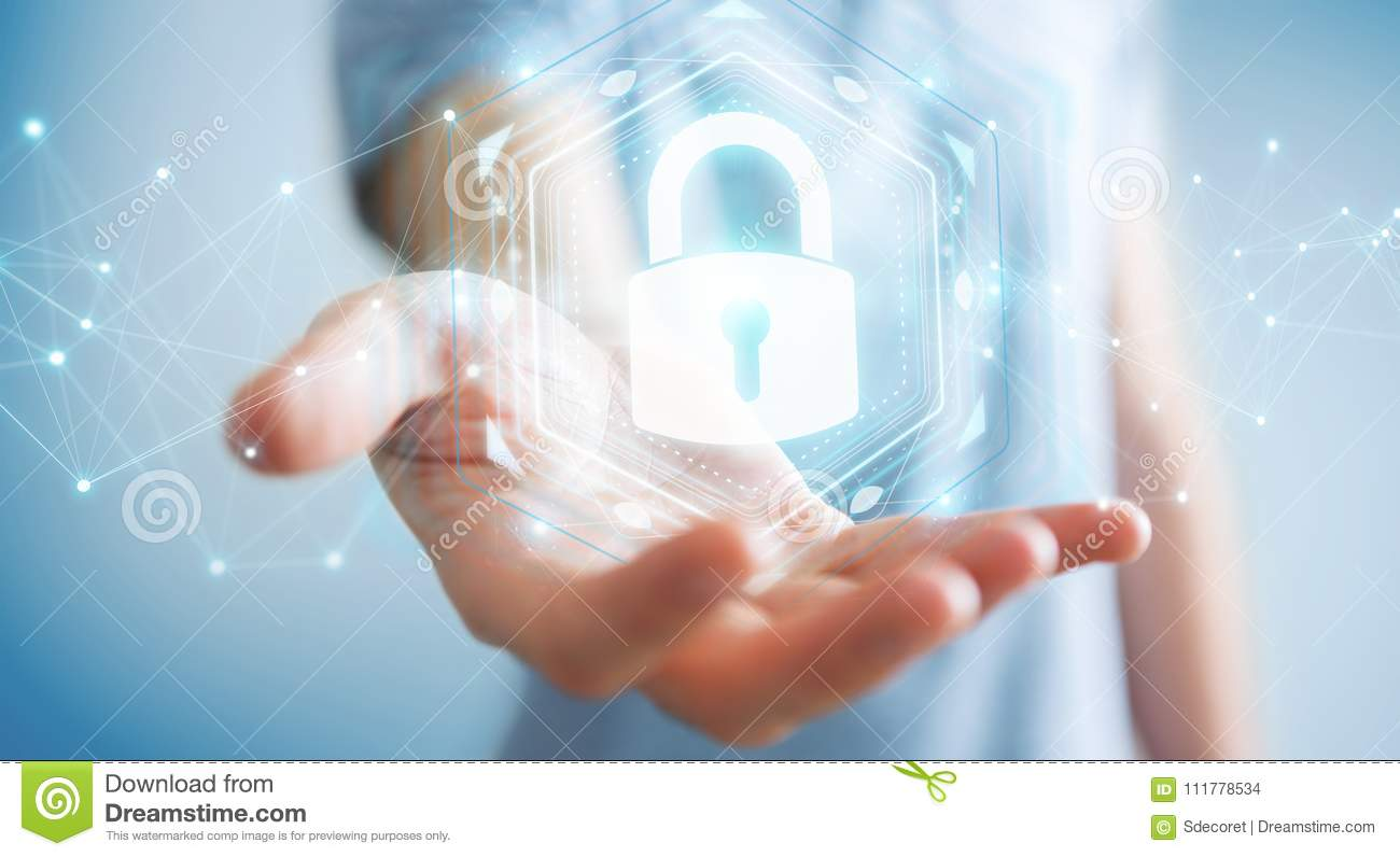 Businessman protecting his datas with security interface 3D rend