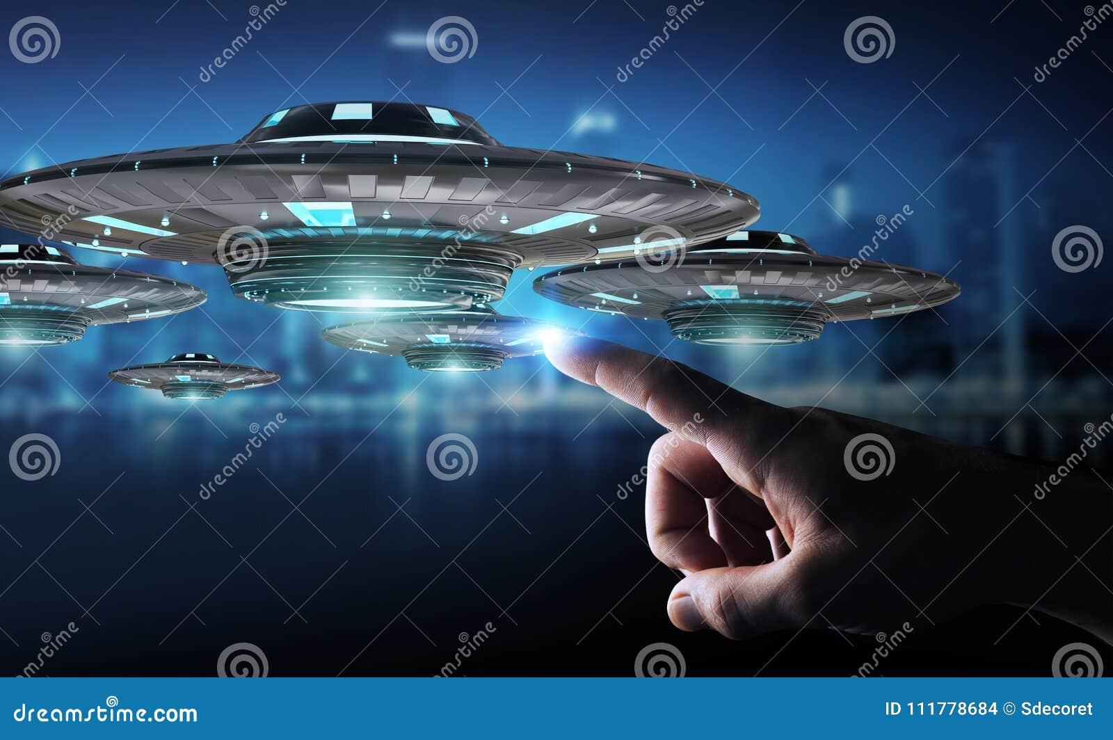 Businessman with retro UFO spaceship 3D rendering