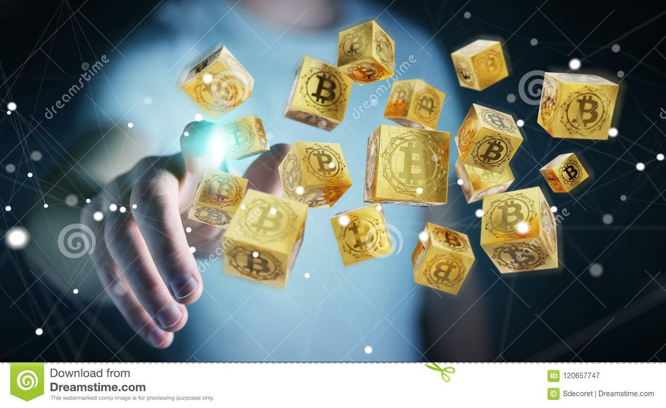 Businessman using bitcoins cryptocurrency 3D rendering