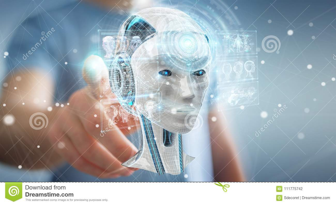 Businessman using digital artificial intelligence interface 3D r