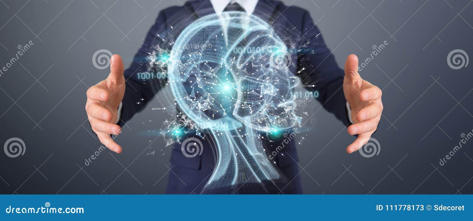 Businessman using digital artificial intelligence interface 3D r