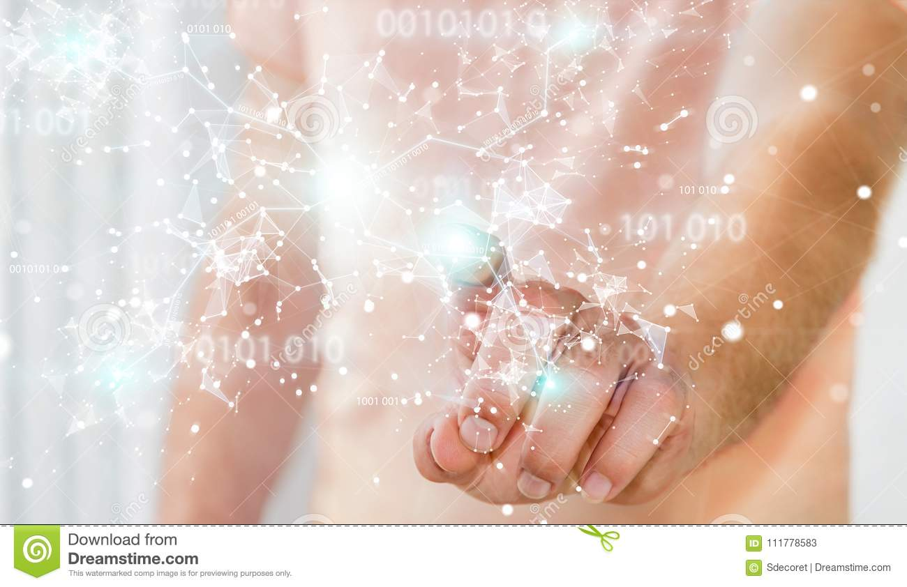 Businessman using digital binary code connection network 3D rend