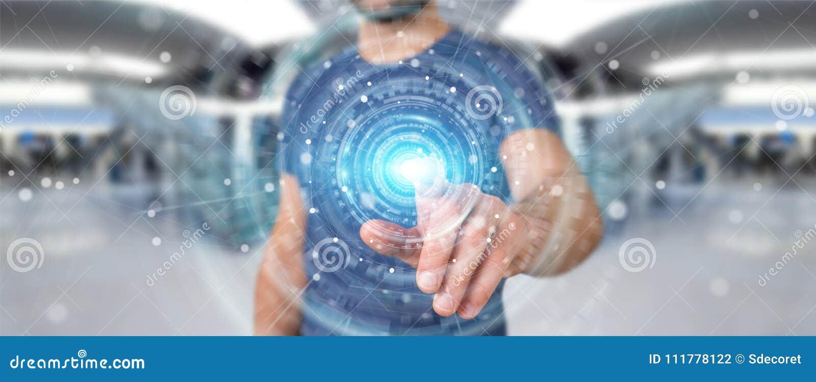 Businessman using digital network connection interface 3D render