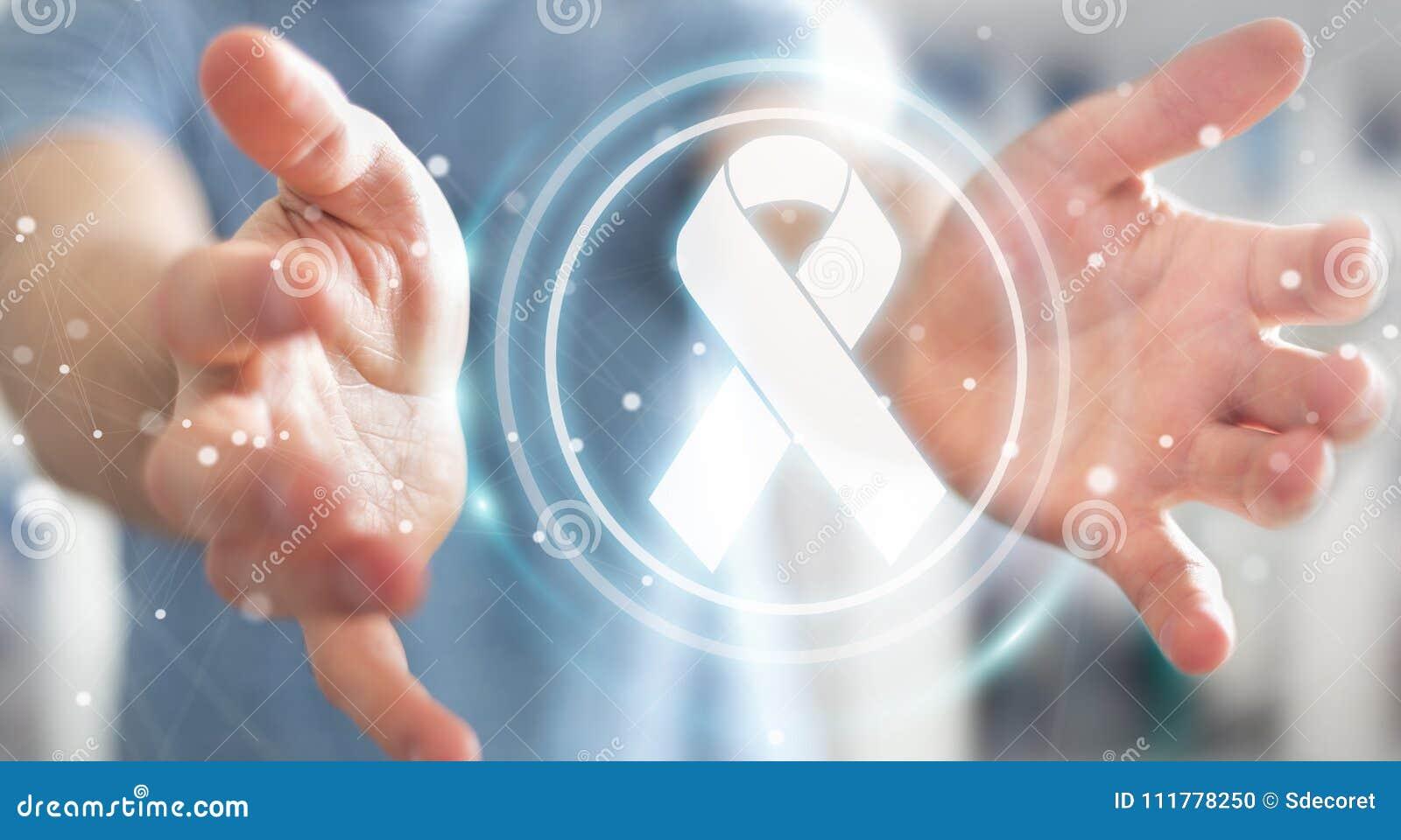 Businessman using digital ribbon cancer interface 3D rendering