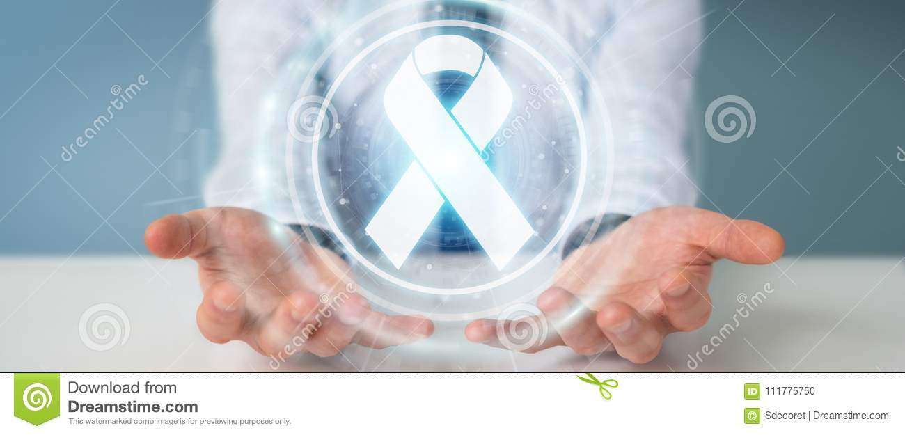 Businessman using digital ribbon cancer interface 3D rendering
