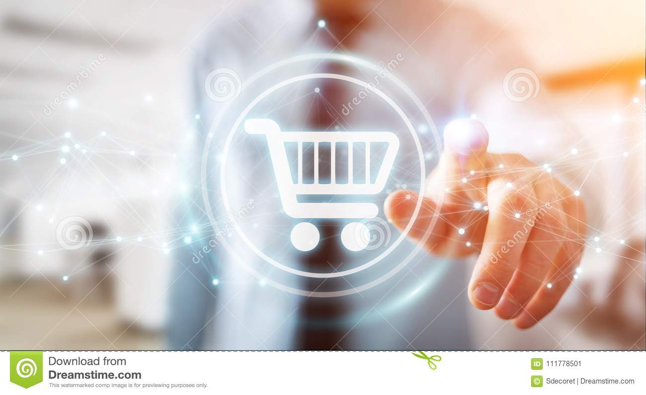Businessman using digital shopping icons with connections 3D rendering