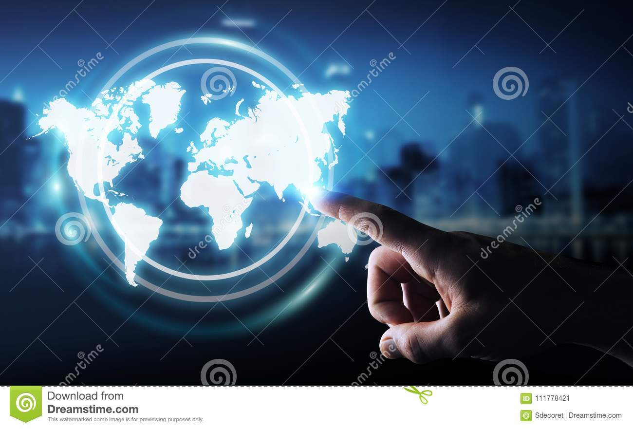 Businessman using digital world map interface 3D rendering