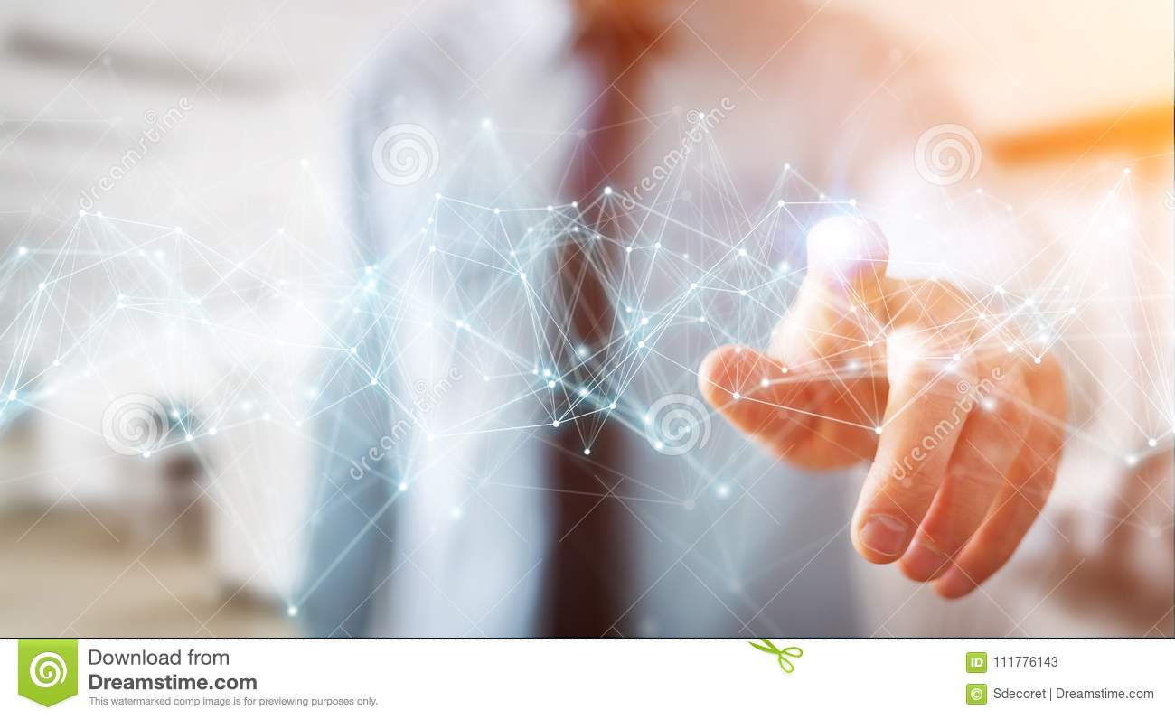Businessman using flying network connection 3D rendering