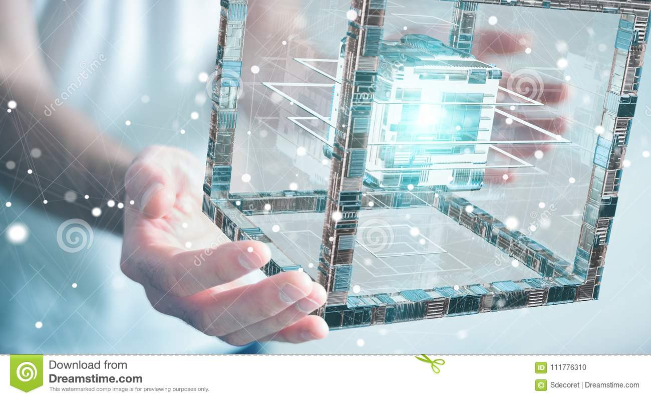 Businessman using futuristic cube textured object 3D rendering