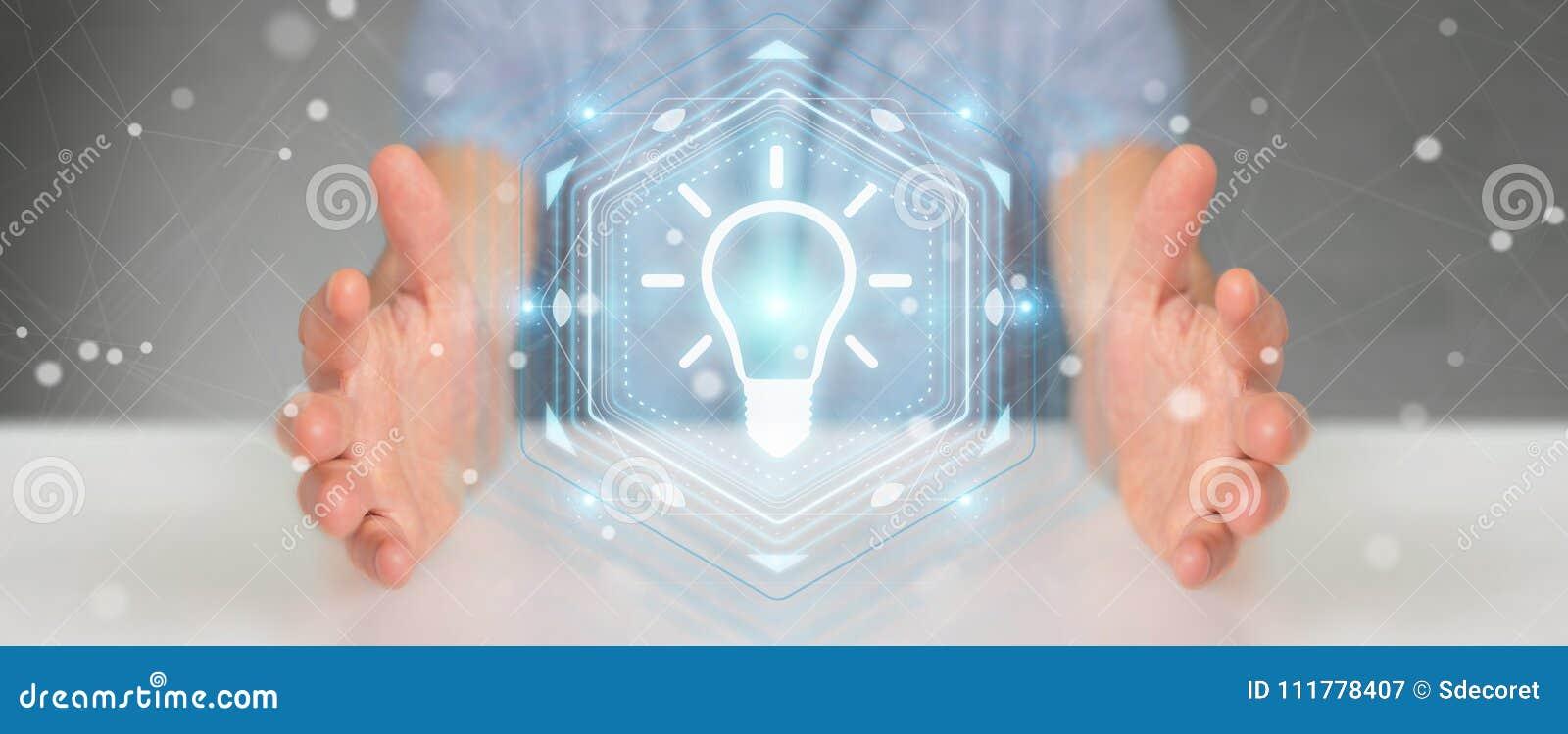 Businessman using lightbulb idea interface 3D rendering